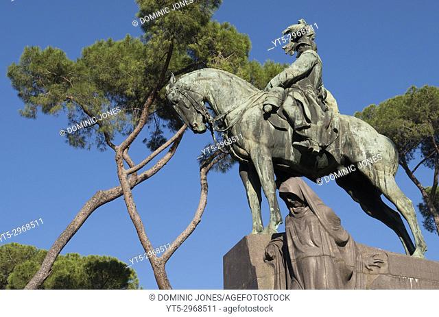 The monument to the assassinated second King of Italy, Umberto the 1st with the hooded figure a personification of Italy's sorrow.
