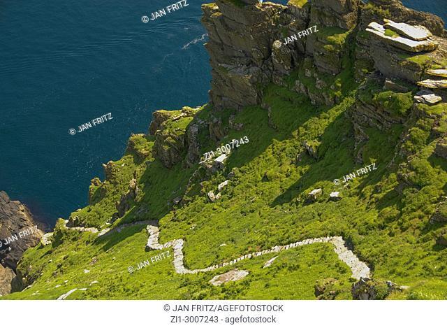 Small path at Skellig Michael island, Ireland