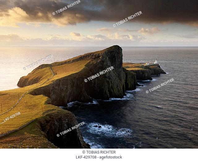 Sunrise above the impressive cliff of Neist Point on the western end of the Isle of Skye, Scotland, United Kingdom