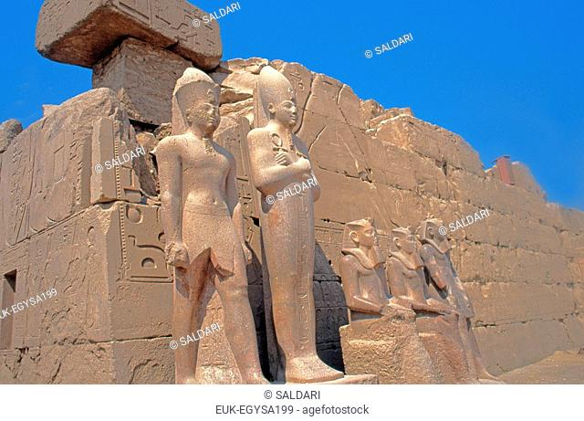Granite statues of Pharaons,Karnak Temple,Egypt