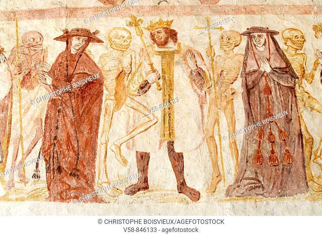 Macabre dance, 15-16th century, La Ferte Loupiere church, Yonne, France