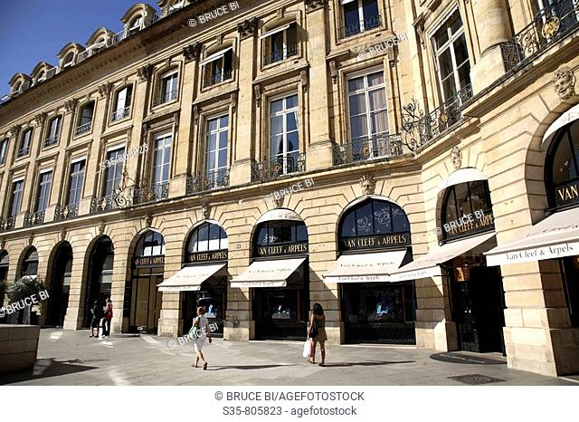 Expensive jewellery shops on Place Vendome, Paris. France