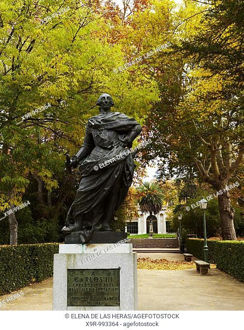 Carlos III statue at the Botanical Garden. Madrid. Spain