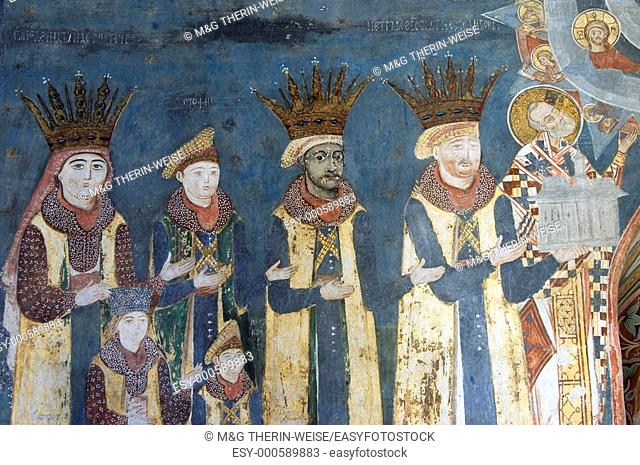 The Naos of the Church of St Nicholas of the Probota Monastery, with wall paintings representing biblical scenes and legends, South Bucovina, Moldavia, Romania