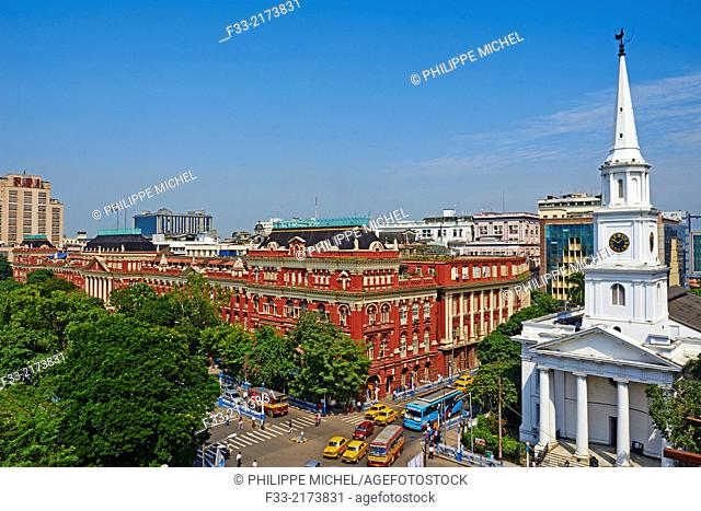 India, West Bengal, Kolkata, Calcutta, BBD Bagh, Writers Building and St Andrew church