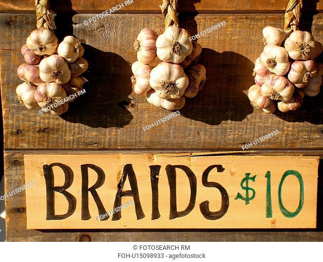 garlic braids, Saturday Farmers Market, Montpelier, VT, Vermont