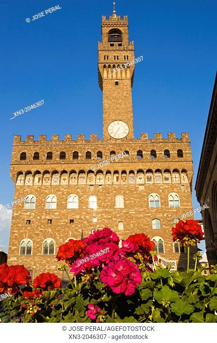 Palazzo Vecchio, Old Palace, Piazza della Signoria, Florence, Tuscany, Italy
