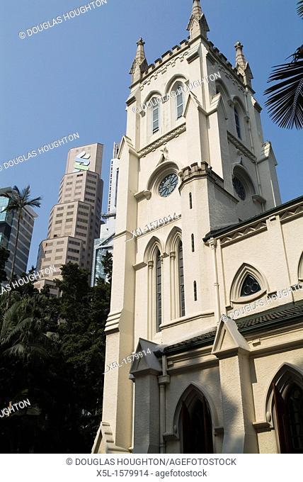 St Johns Cathedral CENTRAL HONG KONG Rooftops Anglican Episcopalian church and Hong Kong bank building