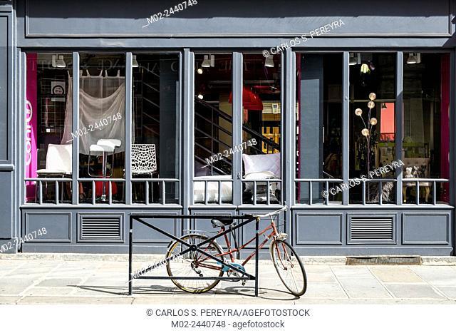 Shop in the district of Le Marais in Paris, France