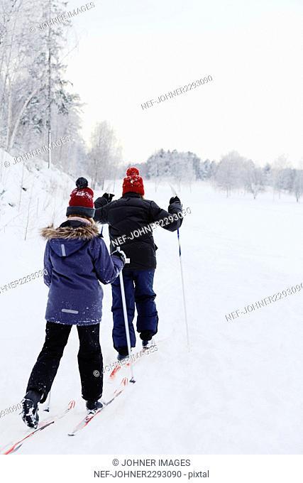 Girls skiing