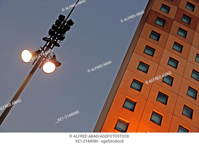 Streetlight and Hotel Ibis at sunset, Can Drago, Barcelona, Catalonia, Spain