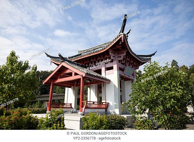 "Fuzhou Ting Pavilion at Chinese Reconciliation Park - North End, Pierce County, Tacoma, Washington, USA. Calligraphy on the plaque reads """"Fu Zhou Ting"""" i"