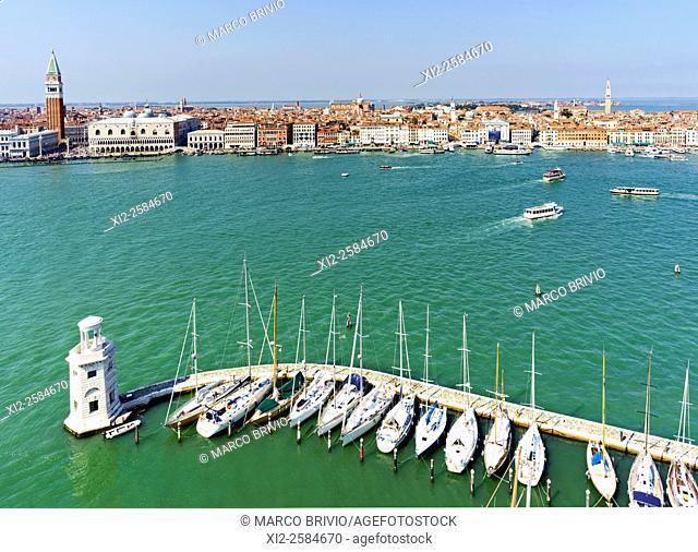 Aerial view of Venice Italy from San Giorgio Maggiore