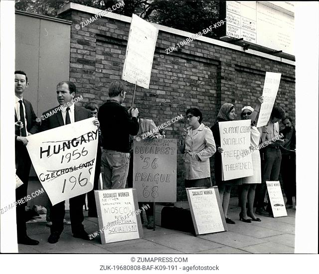Aug. 08, 1968 - Russian troops invade Czechoslovakia scenes outside Russian Embassy in London.: Photo shows Czech students with protest banners gather outside...