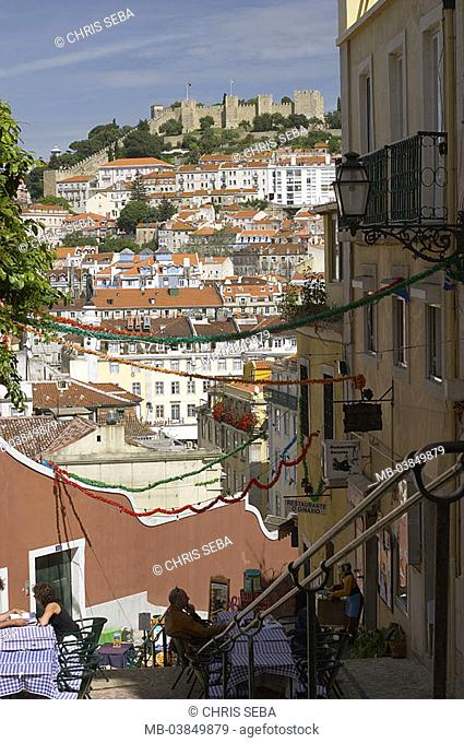 Portugal, Lisbon, old part of town, Chiado, restaurant, guests, background, hills, castle Sao Jorge, Europe, Western Europe, Iberian peninsula, city, capital