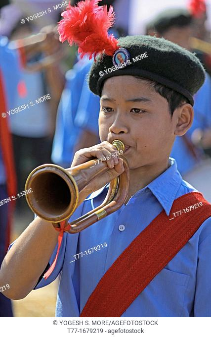 Bugle players Trumpet musician of school music band, Namdapha Eco Cultural Festival, Miao, Arunachal Pradesh, India
