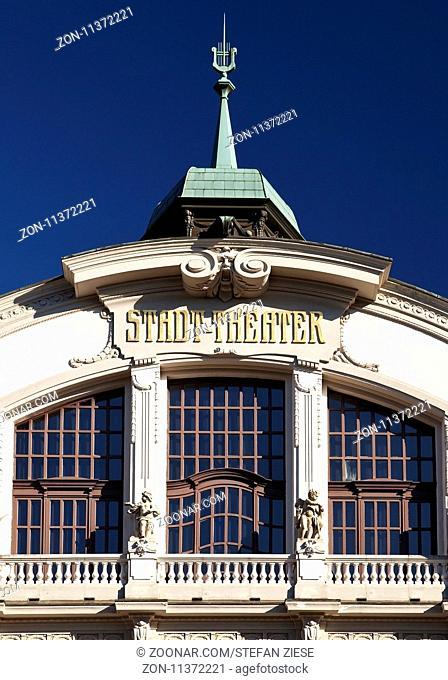 Stadttheater mit Jugendstilfassade, Bielefeld, Ostwestfalen-Lippe, Nordrhein-Westfalen, Deutschland, Europa