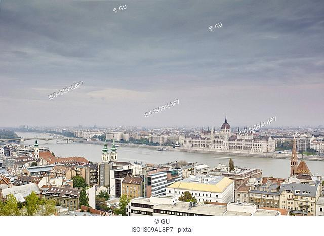 Skyline of Budapest from fisherman's bastion by day, Parliament across the Danube, Hungary