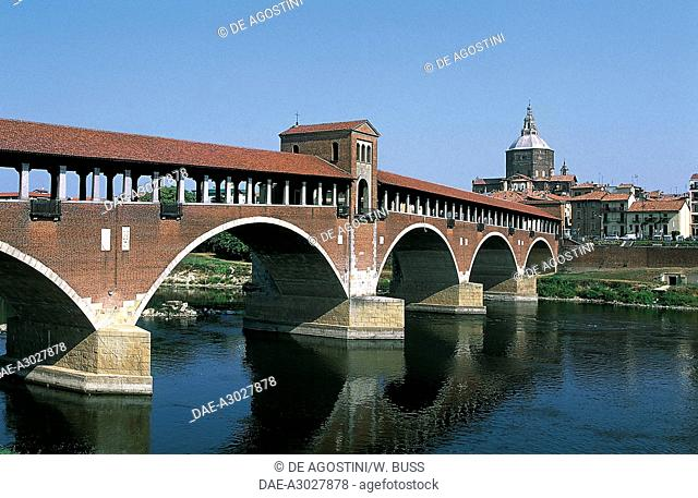 Covered bridge (Old bridge) over the Ticino river, Pavia, Lombardy, Italy