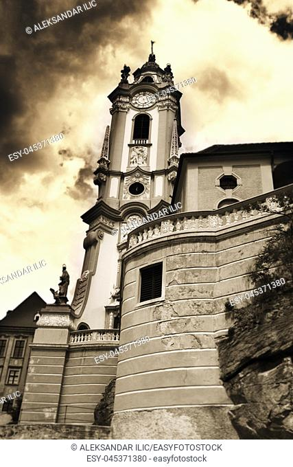 Durnstein Baroque Church on the River Danube in Wachau Valley Region in Austria