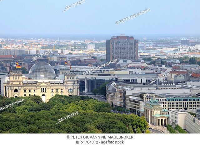 View of the Reichstag parliament from the Panoramapunkt viewing platform at Potsdamer Platz, Berlin, Germany, Europe