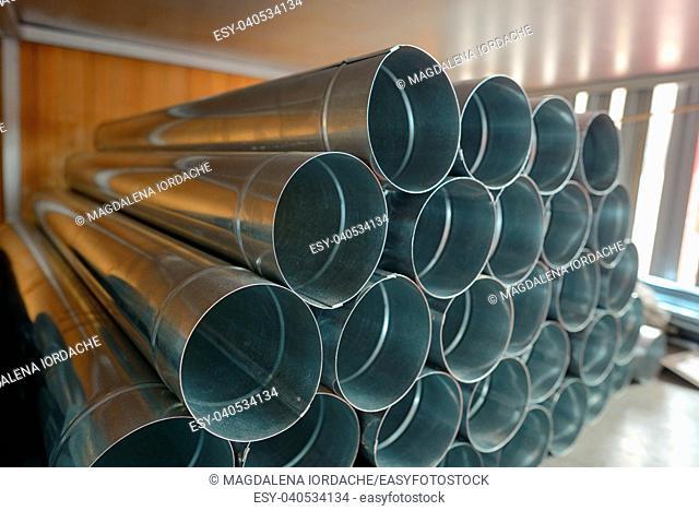 Stack of Galvanized steel Drainpipe in warehouse