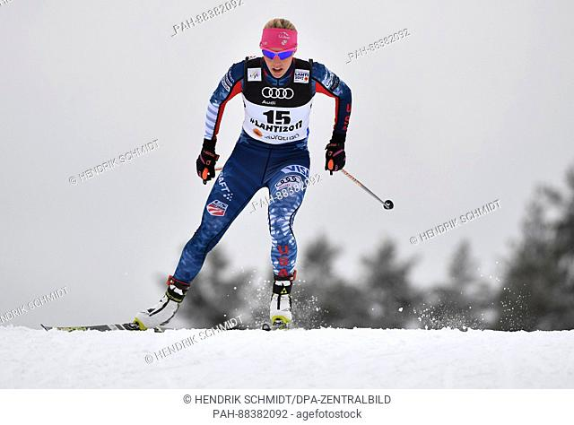American athlete Kikkan Randall in action at the 2017 Nordic World Ski Championships in Lahti, Finland, 23 February 2017