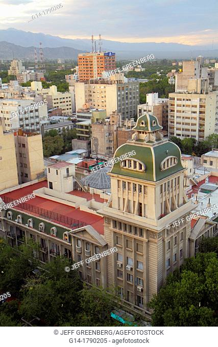 Argentina, Mendoza, aerial view from Edificio Gomez, skyline, Andes Mountains, Pasaje San Martin Building, historic building, tower, apartments, high rise, roof