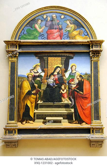 Madonna and Child Enthroned with Saints, ca  1504, altarpiece by Raphael Raffaello Sanzio or Santi Italian, Urbino 1483-1520 Rome, Metropolitan Museum of Art