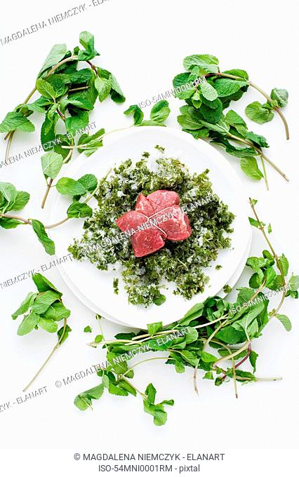 Plate of meat with herbs