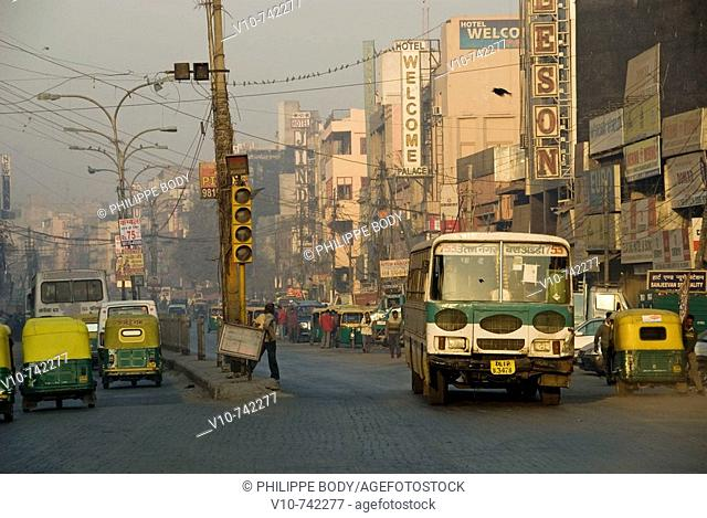 Traffic, Paharganj area, Old Delhi, Delhi, India