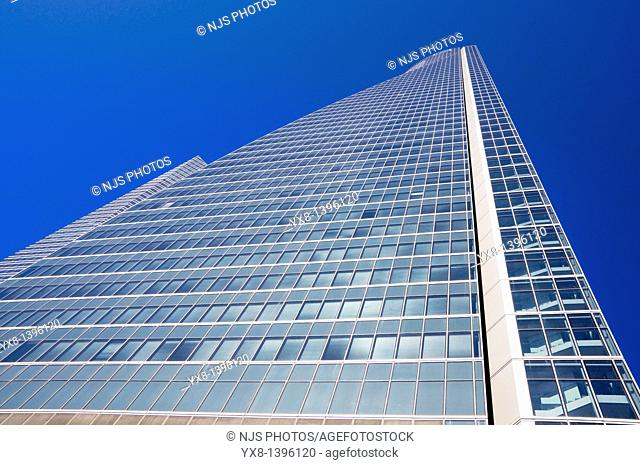 View from below of Espacio Tower, located in Cuatro Torres Business Area of Madrid, Comunidad de Madrid, Spain, Europe