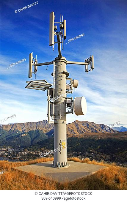 Early morning view of telecommunications mast at Deerpark Heights looking out over Queenstown, Kelvin Peninsula, Queenstown, Otago & South land, South Island