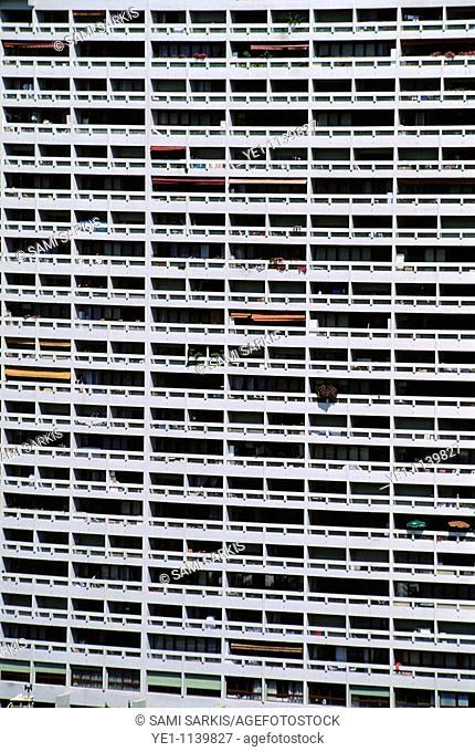 Facade of a modern apartment building, Marseille, France