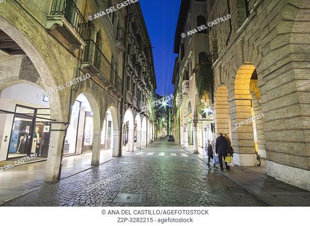 Treviso Italy on January 21, 2019: Cityscape at twilight