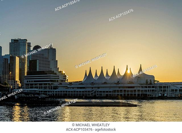 Pan Pacific Hotel and Canada Place at sunset, Vancouver, British Columbia, Canada
