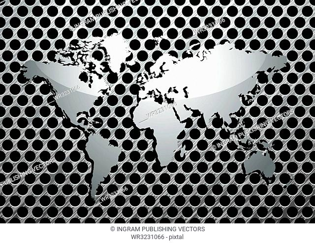 Silver metal grill background with brushed world map