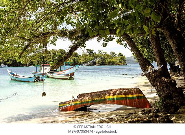Colorful boat on the beach on Pulau Weh