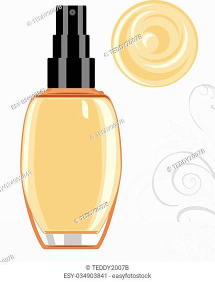 Liquid foundation cream. Vector illustration
