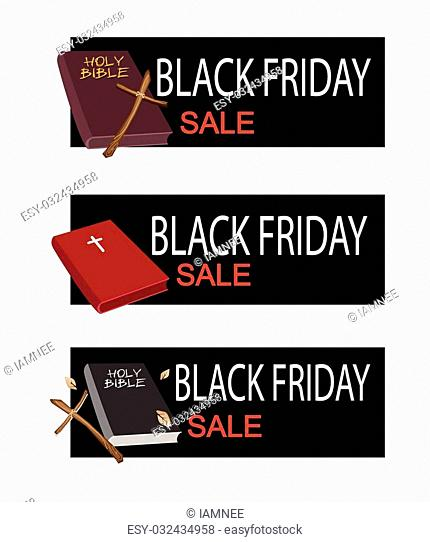 Illustration of Holy Bible with Wooden Cross on Black Friday Shopping Banner for Start Christmas Shopping Season