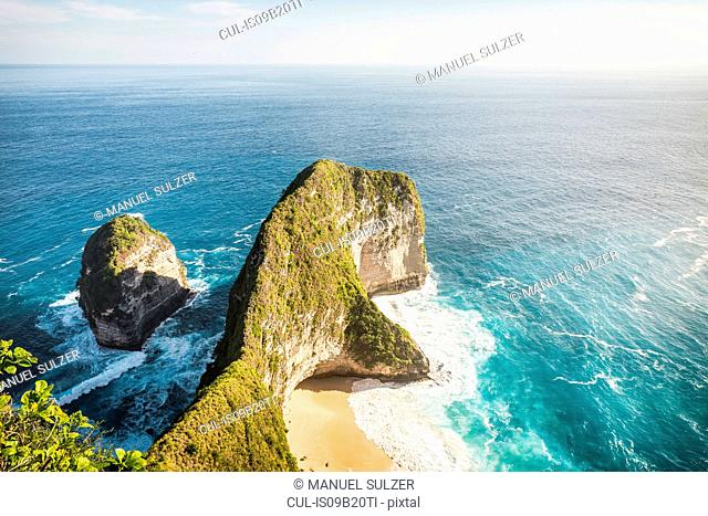 High angle view of rock formation and sea, Peluwang, South Coast, Nusa Penida, Indonesia