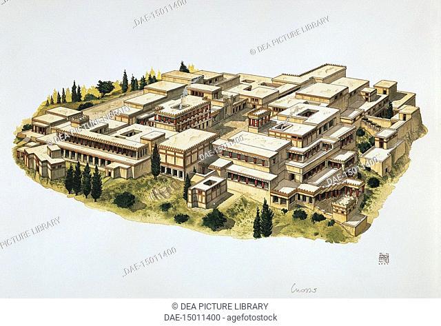 Greek civilization - Crete, Greece. Reconstruction of Knossos Palace. Color illustration