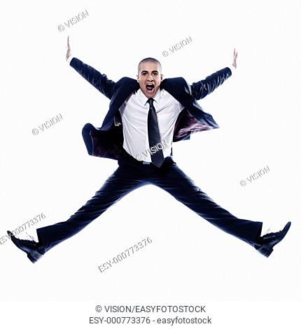 caucasian man businessman jump screaming angry isolated studio on white background