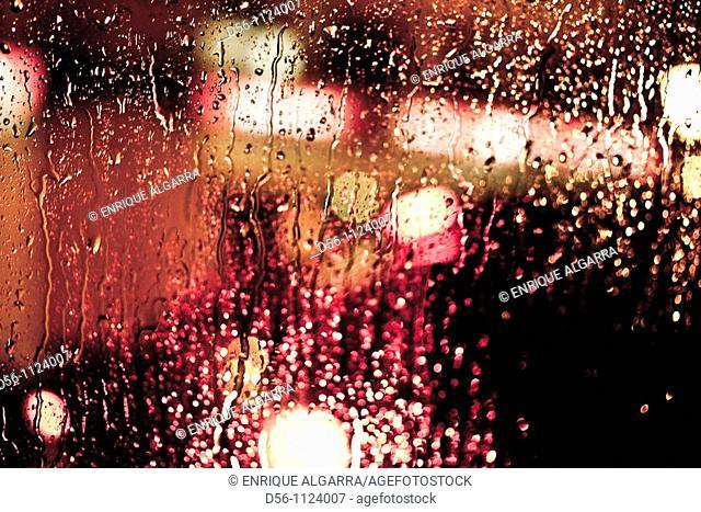 lights in a rainy day, Valencia, Spain