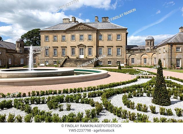 Front facade of Dumfries House near Cumnock, Ayrshire, Scotland, UK. The mansion originally designed by the acclaimed archited Robert Adams in 1760 was owned by...