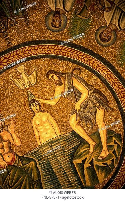 Mosaic painting on the dome of a church, Arian Baptistery, Ravenna, Emilia-Romagna, Italy