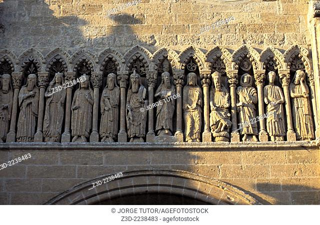 Gothic Firso of Puerta de las Cadenas Cathedral of Ciudad Rodrigo, was built between the 12th and 14th centuries Salamanca Province