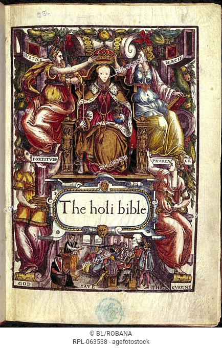 Title page of a bible. Known as the Bishop's bible. The titlepage bears a woodcut portrait of Queen Elizabeth enthroned between Justice and Mercy