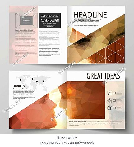 Business templates for square design bi fold brochure, magazine, flyer, booklet or annual report. Leaflet cover, abstract flat layout, easy editable vector