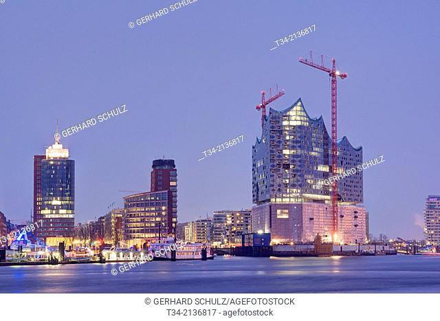 Elbe Philharmonic Hall, Kehrwiederspitze and Hanseatic Trade Center at Hamburg Harbour, Germany